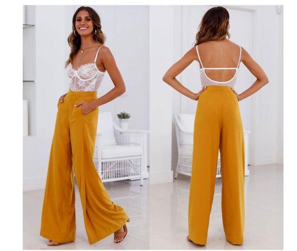 Pantaloni larghi da donna Pantlones da donna Pantaloni lunghi bianchi gialli a vita alta Comodi pantaloni larghi casuali Pantalones
