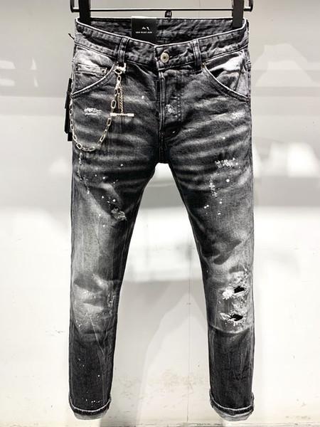 Jeans da motociclista rock Jeans da uomo strappati patchwork strappati pantaloni strappati jeans hip-hop da uomo pantaloni # 9021