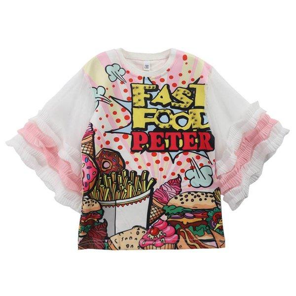 Cartoon girls dresses lace chiffon Princess Dresses Fashion Summer Long kids T-Shirt Kids Designer Clothes Girls dress kids dress A4527