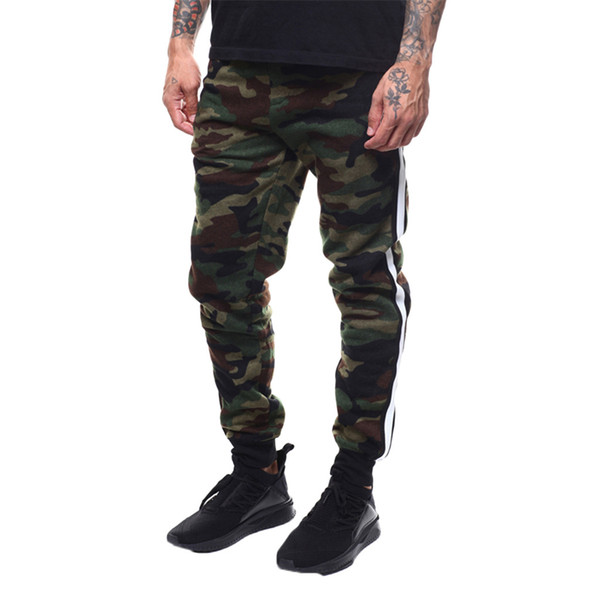 Womail Fashion Mens Splicing Printed Overalls Camouflage Pocket Sport Work Casual Trouser Pants M300110