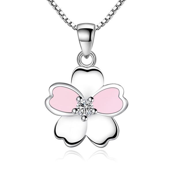 Fleur Point Bijoux De Mode Collier Pendentif CZ Cristaux Cubique Zircone Femmes Bijoux De Mode Cadeau Pour La Fête Meilleur Ami Anti Allergie W7