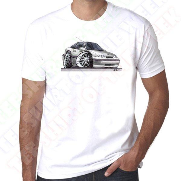 WickedArtz Cartoon Car Silber Vauxhall Calibra Herren 100% Baumwolle Weißes T-Shirt Neue Mode Lässig Baumwolle Kurzhülse Lustiges Top T Druck