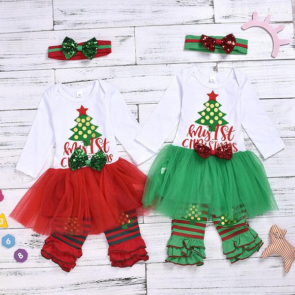 Christmas Girls Letter Xmas tree Print Long Sleeved Mesh Tutu Dress +Sequins Bow Headband+ 2pcs Striped Lace Leggings Clothing Sets M428