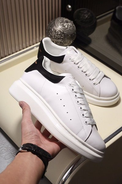 M13 2019 Luxe Alexander McQueen Hommes Femmes Mode Blanc Chaussures de plate-forme en cuir Top chaussures de qualité en cuir véritable Sneaker