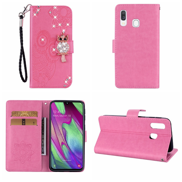 3D Bling Diamond Owl Leather Wallet Case For Samsung A70 A50 A40 A30 A20 A10 Imprint ID Card Slot Night Bird Flower Lace Cute Flip Cover