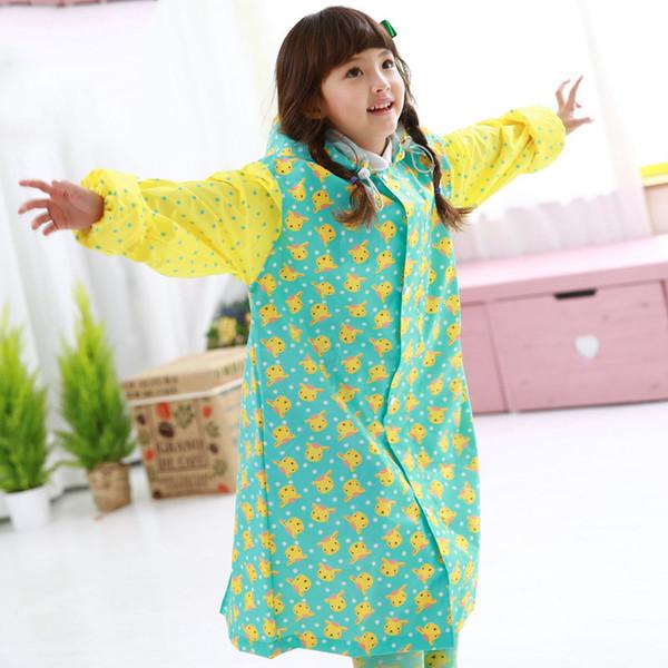 Long Raincoat Kids Girl Plastic Rain Poncho Regenjas Regenmantel Tavel Rainwear Waterproof Impermeable Raincoat Sets QQG231