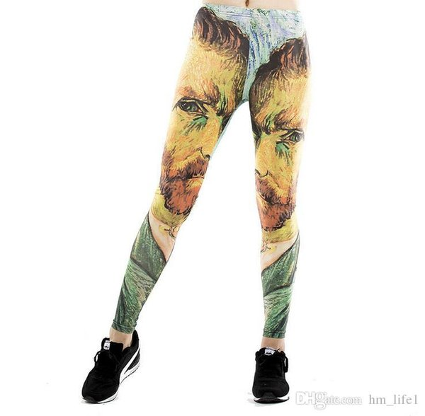 Women Yoga trousers pants Tights trousers Female High waist dance active Lady face Head portrait Painting Leggings Skinny silm motion