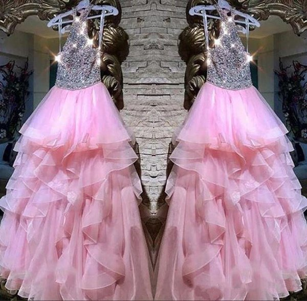 2019 Hot Pink Halter Neck Prom Dresses Shining Beads Crystal High Low Ruffles Tiered Skirts Tulle Formal Occasion Cocktail Dress