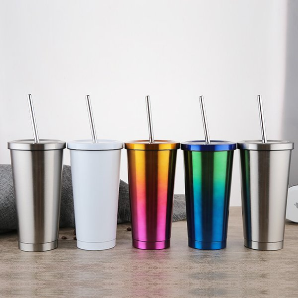 500ml Hot sell double wall stainless steel vacuum insulated coffee mug with stainless steel straw