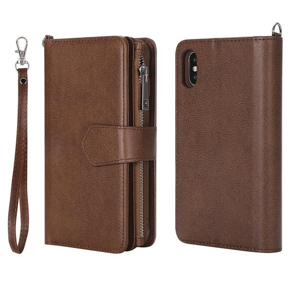 Cuir de haute qualité en cuir mobile couvre pour iPhone x Motif Zipper Wallet Phone Case pour iPhone x couvre