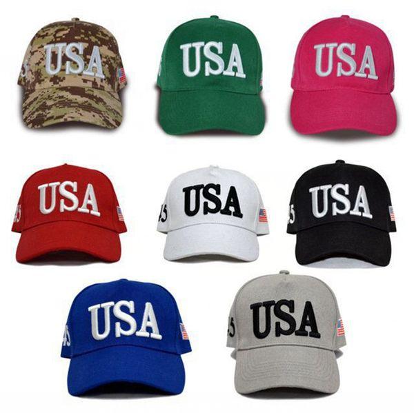 Moda Trump 2020 Sombrero de béisbol EE.UU. bandera bordado Cao Men Deportes camping Adjustabll Bola Sombreros mujer del recorrido del casquillo de Sun TTA1811