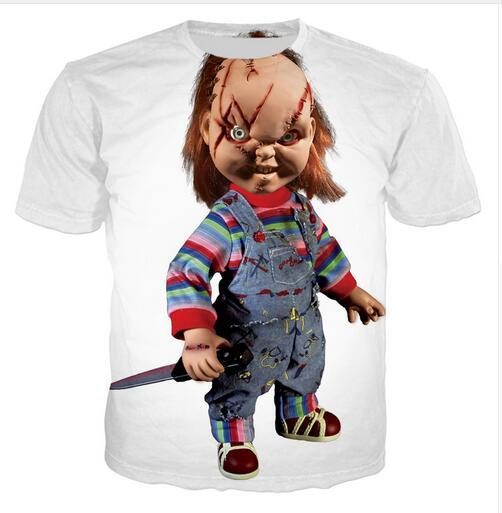 f5f1ce3b Newest Design Womens/Mens Movie Chucky Scarred Good Guy Doll Funny Short  Sleeves 3D Print T-shirt Unisex Summer Style Casual T-shirt