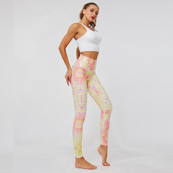 pantaloni da yoga Abbigliamento da palestra Abbigliamento tuta da jogging Leggings floreali Vita alta Meccanica per il corpo Sport elastico Allenamento outdoor jogging fitness in esecuzione