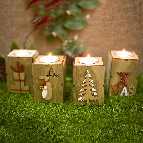 Christmas Candle Holder Decoration Christmas Creative Gifts Decoration Mini Wooden Candlestick Home Decor Christmas Tree Elk Gift box Letter