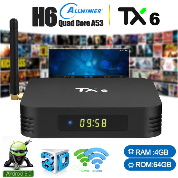 Android TV Box 9.0 4gb 64gb 4k Quad Core 5g Wifi Smart Media Player TX6 With Allwinner H6 Blutooth 5.0 HDMI DLNA Supported