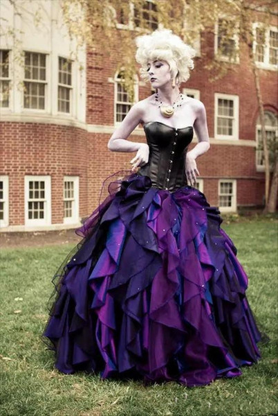 2020 Новый фиолетовый и черный органзы тафта бальное готические свадебные платья корсета Викторианский Halloween Свадебные платья сшитое