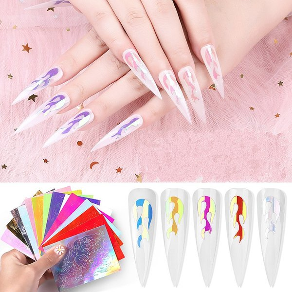 16 pezzi fai da te adesivo fiamma per unghie 16 colori magici manicure decalcomanie misura donne chiodi decorativi paster nuovo arrivo 9pp e1