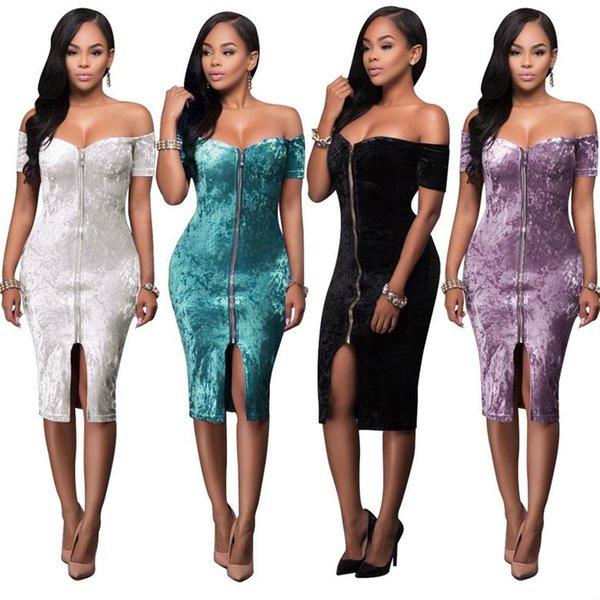 Fashionable Elegant Lantern Sleeve Velvet Dress off-shoulder Bodycon Dresses sexy dress club wear Casual Bodycon dresses 2018 Women