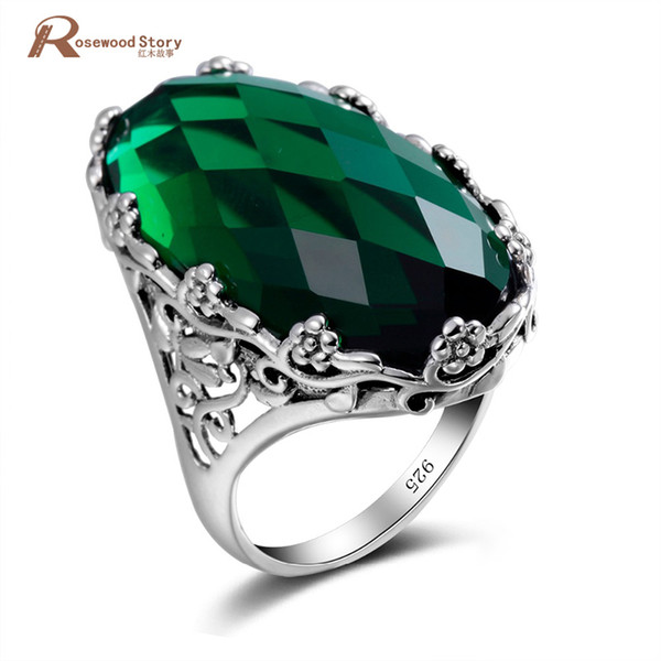 Russian Green Stone Crystal Ring Big Stone Flower Pattern Pure 925 Solid Sterling Silver Ring For Woman Classic Vintage Jewelry J190525