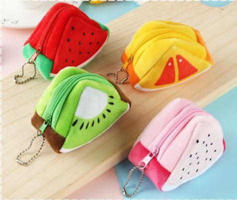 Girls Kids Coin Purse Children's Holiday Gifts Creativity Plush Triangles Fruit Purses Coins Mini bag Key Bags Woman Wallet #124297