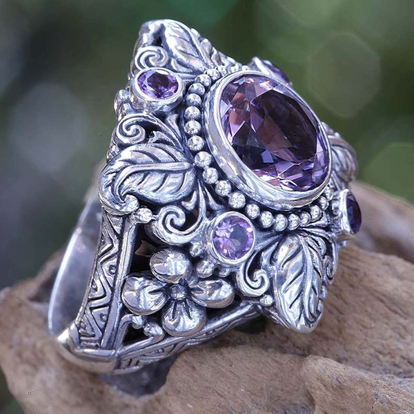 Pedra roxa CZ Flor Mulheres Anéis de Prata Thai Boho Folha Feminina Anel Da Princesa Do Vintage Jóias de Noivado Banda de Casamento DDR024