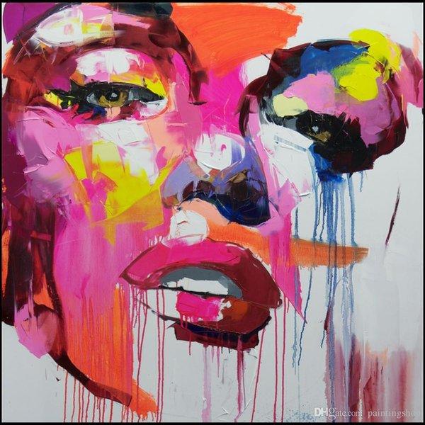 Франсуаза Nielly Мастихин Impression Home Artworks Современный портрет Ручная роспись маслом на холсте Вогнутые и выпуклые текстуры Face167