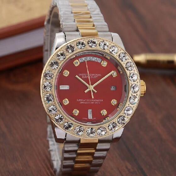 Top Brand Men Business Watch Luxury Diamond Quartz Watches Gold Silver Stainless Band Red Large Dial Double Calendar Wrist watch Male 44MM