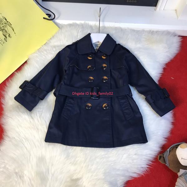 Rompevientos para niños ropa de diseñador para niños otoño niños y niñas cintura gabardina cruzada abrigo de color sólido