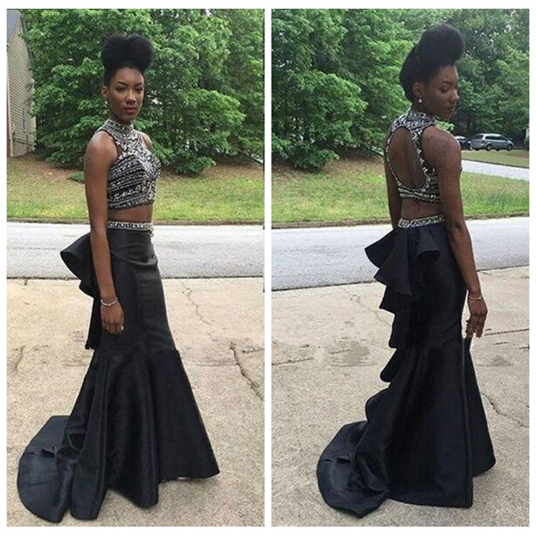 High Neck Black Slim Mermaid Prom Dresses Beaded Crystal Two Piece Black Girls Evening Party Gowns Special Occasion Party Gowns Top Sale
