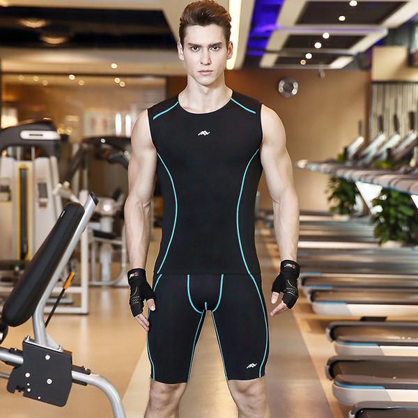 Yaz Erkekler Kolsuz T-Shirt Pantolon Erkekler Sıkıştırma Set Spor Spor Eşofman Cilt Sıkı Baz Tayt Koşu Setleri