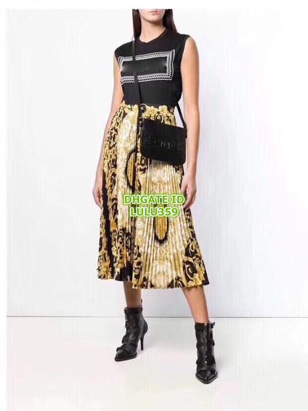 separation shoes how to buy pretty cheap 2019 Summer Women Brand Mid Calf Skirts Geometri Print Overskirt A Line  High Quality High Waistline Zipper Fly Long Pleated Skirt Summer Dress From  ...