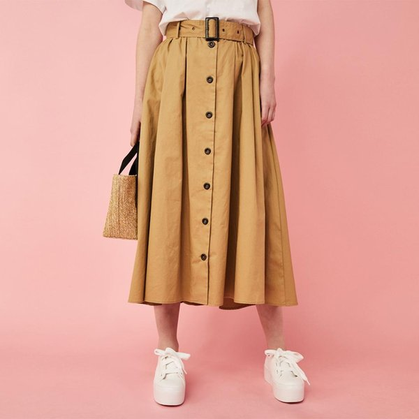 Sweet Khaki A-Line Long Skirt Saches monopetto Lovely Gonna a pieghe a mezzo polpaccio Donna Girls office lady Streetwear Casual