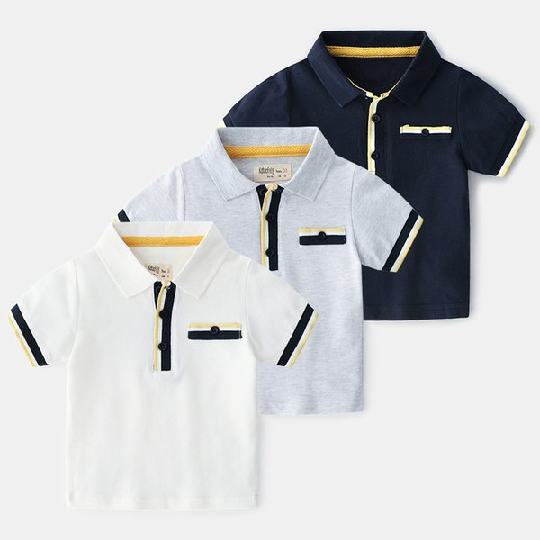 2019 New Summer Classic lapel Enfant Boys T-shirt British style Children Cotton stripe polo Shirt Tops Kids Baby Short Sleeve T-Shirt