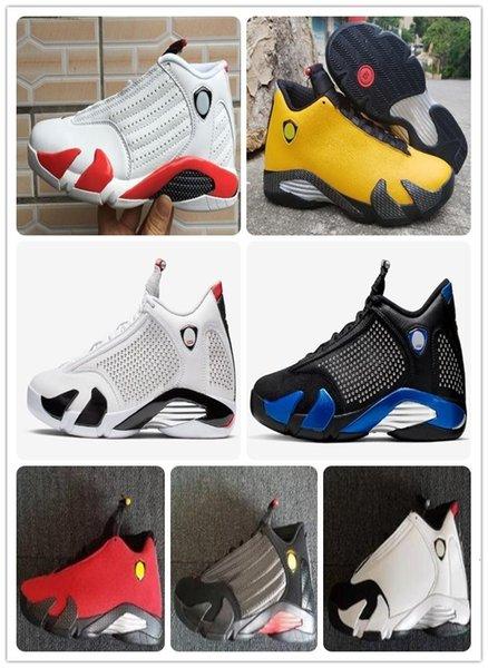 Zapatos con 14 SE MARCHA ATRÁS FERR baloncesto del bastón de caramelo Last Shot 14s Universidad Blanco Negro Rojo Azul real Amarillo Oro Universidad de Atletismo
