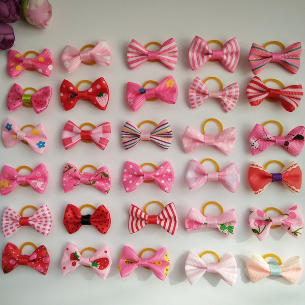 100pcs 1.4inch Pink Cute Pet Cat And Dog Rubber Band Hairpin Pet Bows Hair Accessories Small Size Pet Dog Beauty Product