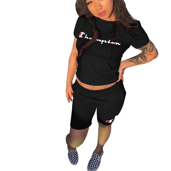 Carta dos Campeões de Impressão Mulheres Treino de Manga Curta T-shirt Top + Calças Curtas 2 pc Roupa Definir Outfit Calções de Verão Jogging Terno B3043