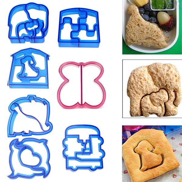 13pcs Niños DIY Almuerzo Sandwich Tostadas Galletas Molde Animal Elefante Perro Forma de corazón Pastel Pan Molde Cortador de galletas