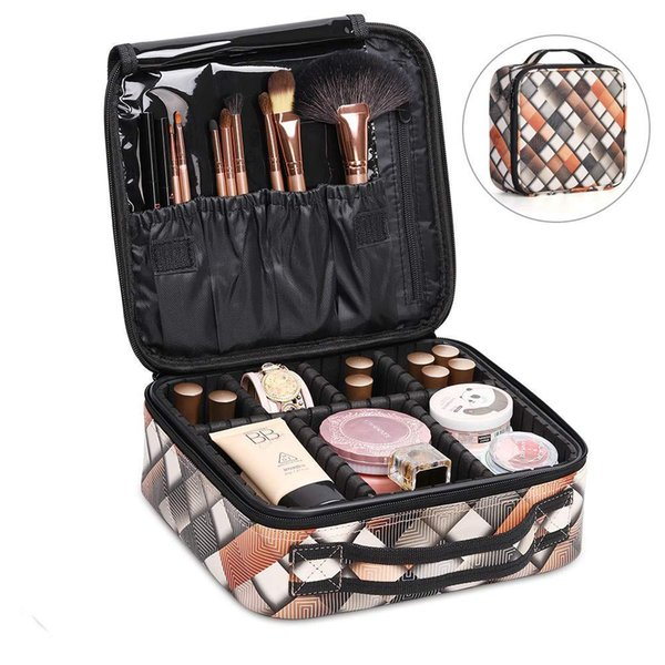 ade07f5970dc04 BEAU-Travel Makeup Bag Portable Makeup Train Case Mini Cosmetic Organizer  Bag with Adjustable Dividers