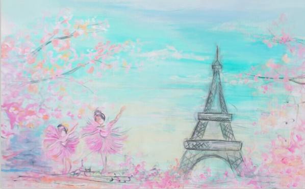 7x5ft Aqua Sky Flowers Branch Ballerina Ballet Eiffel Tower Custom Photography Studio Backdrops Backgrounds Vinyl 220cmx150cm