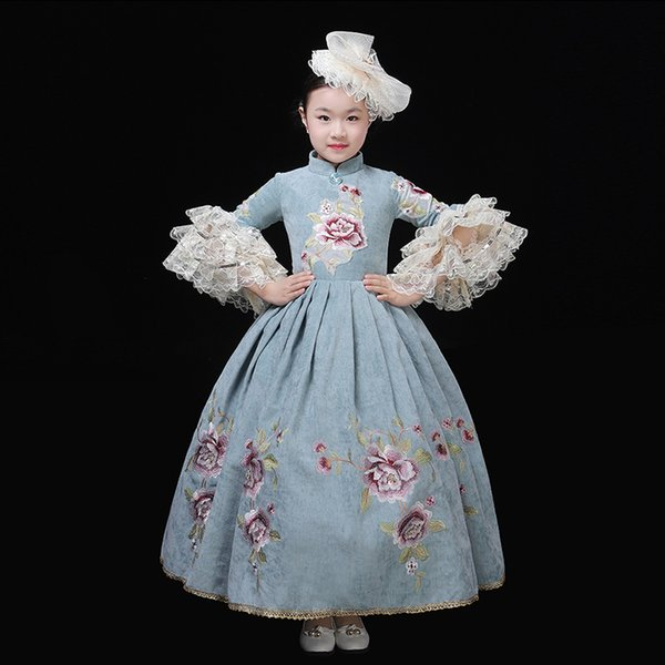 2019 Retro Children Marie Antoinette Wedding Party Dress 18th Century Flowers Embroidery Stage Ball Gowns Customized
