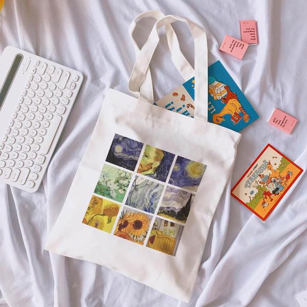 Van Gogh Letters Cartoon gedruckt Leinwand Umhängetasche weibliche Harajuku Ulzzang lustige große Kapazität Einkaufstaschen Umhängetaschen