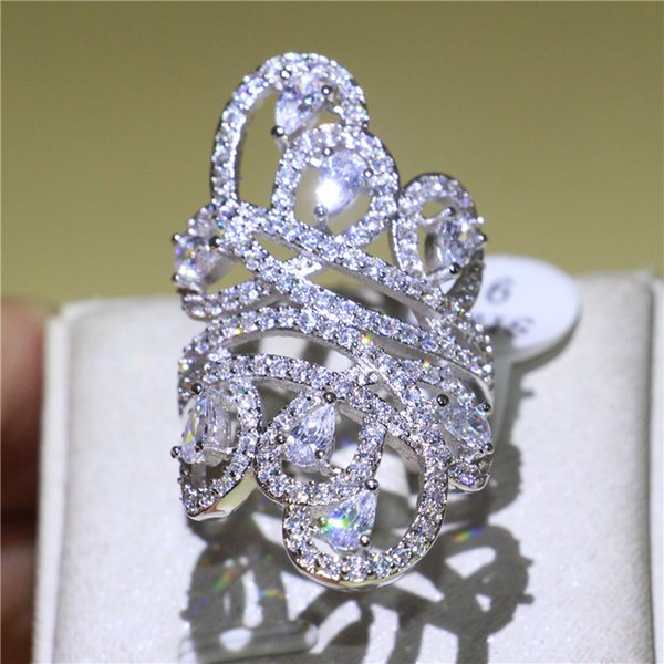 Best4UU Luxury Women 925 Silver Filled Band Ring Full Diamonique CZ Flower Finger Ring Bride Wedding Engagement Jewelry Unique Gift Size5-10