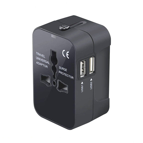 top popular World Wide 100-250V 6A Universal Travel Adapter US EU UK AU Multi Plug Charger With Dual USB 2 Ports 2021