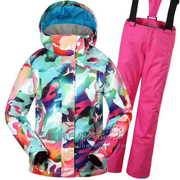 2017 Gsou Snow Snowboard Suit Children Jacket+Pants Kids Girls Jacket Snowboard Outdoor Sport Warm Skiing Waterproof Windproof