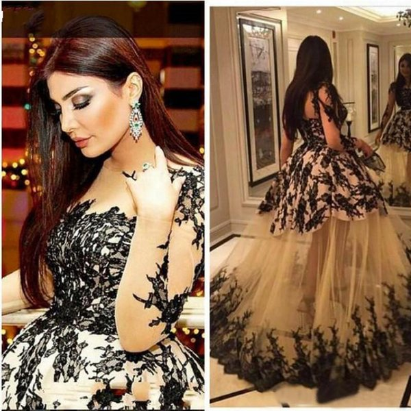 Evening Dress Sheer Bodice Kim Kardashian Haifa Eman Alaj Floor Length Yousef Aljasmi Long Sleeve Lace Ball Gown Zeena Zaki Black Lace