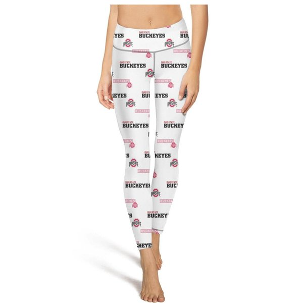 Ohio State Buckeyes logotipo de fútbol rojo y negro Pantalones de yoga para mujer Con bolsillo Pantalones de yoga Entrenamiento de yoga leggings Deporte suave verano Leggi