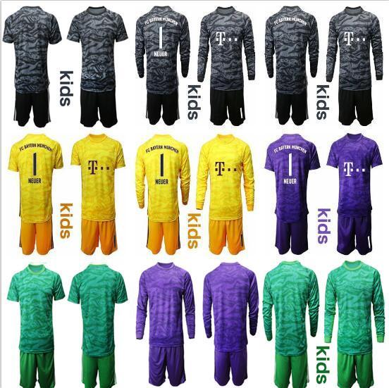 2019 20 Enfants NEUER Maillot Gardes Maillots Manuel Manuel Neuer Kits de Football bayern 26 Ulreich Garçons Gardien Uniforme de Football Chemises