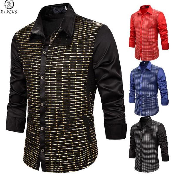 Brilhante ouro paetês preto vestido de seda Camisas Men manga comprida com botões brilhantes Disco Party Shirts Partido Nightclub Masculino Prom Chemise