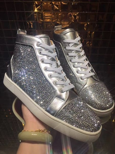 2019 Red Bottoms Sneakers Sapatos para Homens Casuais Mulheres de luxo mens de Cristal Azul Ao Ar Livre designer de fundo vermelho zapatillas chaussures Tamanho 35-46