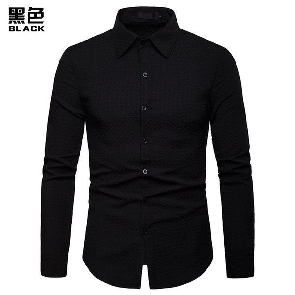 2019 Mens Formal Shirts Men`s Long Sleeve Turn-down Collar Slim Fit Casual Shirts in Black Navy Red Plus Size 2XL